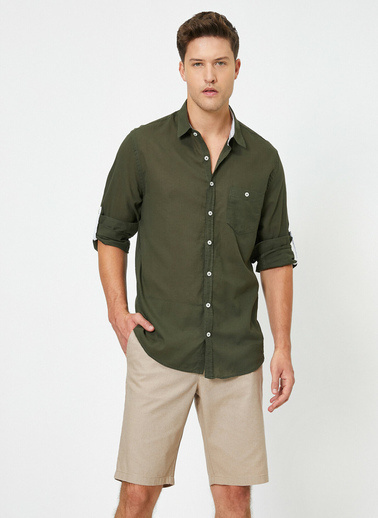 Koton Tek Cepli Uzun Kollu Gömlek Yeşil